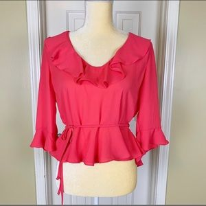 Top Shop Hot Pink Ruffle Cropped Blouse Size 8